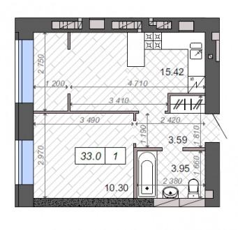 Квартира с с отличной планировкой в рассрочку на 2 года!  Большая закрытая терр. Ирпень, Киевская область. фото 3