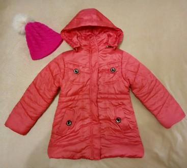 Демисезонная куртка для девочки на рост 122 - 128 см, шапка в подарок. Киев. фото 1