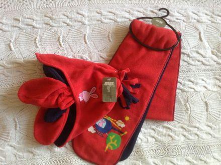 Продаю новый флисовый набор красно-синего цвета ТМ Мах, длина шарфика - 125 см, . Киев, Киевская область. фото 1