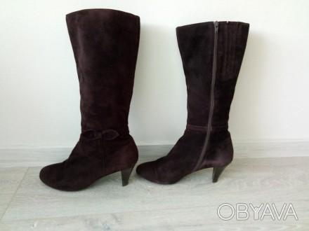 Продаються чоботи жіночі весна-осінь фірми BRASKA (замшеві, колір-шоколадний, ро. Киев, Киевская область. фото 1