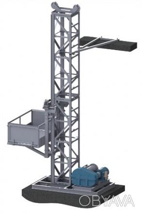 Н-35-37 м, г/п 1000 кг. Строительный Подъемник Мачтовый Секционный (Лоток)