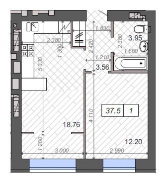Квартира в ЖК Новые Метры Park! Площадь 37,5 м2, большая кухня 19 м2!  Ввод вс. Ирпень, Киевская область. фото 3