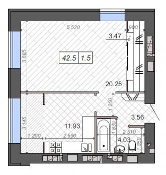 ЖК Новые Метры Park!  Квартира 43 м2 имеет два окна в комнате, возможно перепла. Ирпень, Киевская область. фото 3