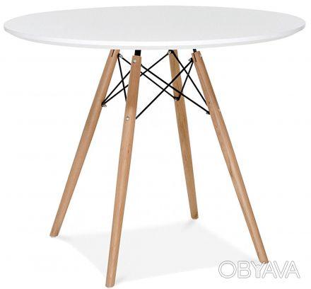 Обеденный стол Тауэр Вуд (Tower Wood), круглый, столешница из дерева, цвет белый. Киев, Киевская область. фото 1