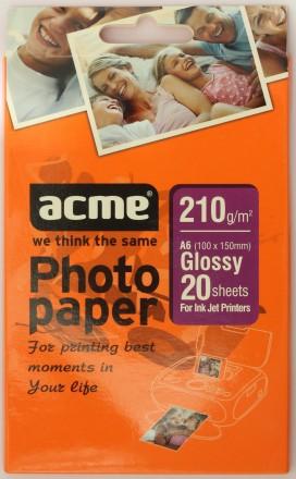 Фотобумага ACME 10х15, глянец, 210 г/м2 (20 листов). Днепр. фото 1