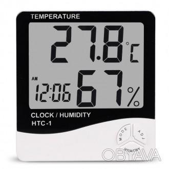 Термометр гигрометрHTC-1 цифровой температура влажность часы