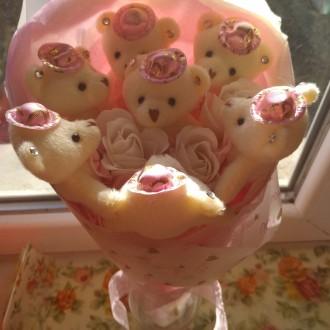 Букет из 5мишек-200грн;букет из 7мишек-250грн,корзинка с мишками и цветами-300гр. Одесса, Одесская область. фото 3