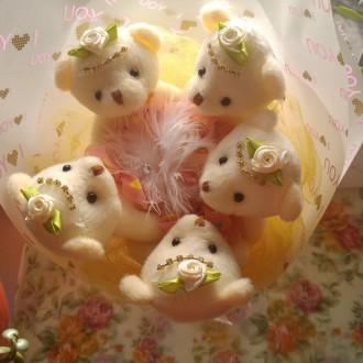 Букет из 5мишек-200грн;букет из 7мишек-250грн,корзинка с мишками и цветами-300гр. Одесса, Одесская область. фото 4