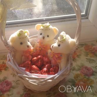Букет из 5мишек-200грн;букет из 7мишек-250грн,корзинка с мишками и цветами-300гр. Одесса, Одесская область. фото 1