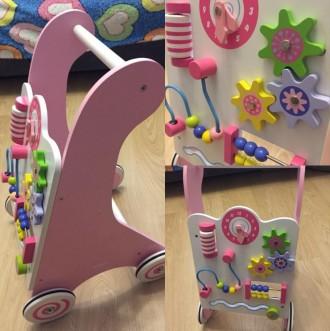 Дерев'яні ходунки-каталка рожеві Viga Toys. Львов. фото 1