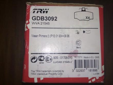 Продам колодки задние TRW GDB 3092.   Подходят на модели Nissan Almera и Prime. Киев, Киевская область. фото 3