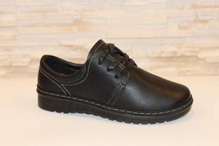 Туфли женские черные на шнуровке Т70 38. Запорожье. фото 1