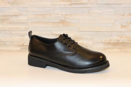 Туфли женские черные на шнуровке Т920 38. Запорожье. фото 1