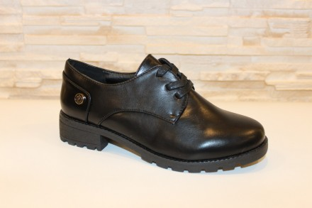 Туфли женские черные на шнуровке код Т164. Запорожье. фото 1