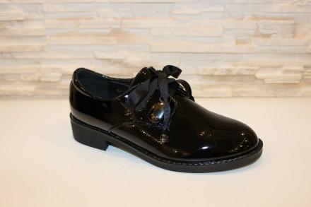 Туфли женские лаковые черные на шнуровке код Т220. Запорожье. фото 1