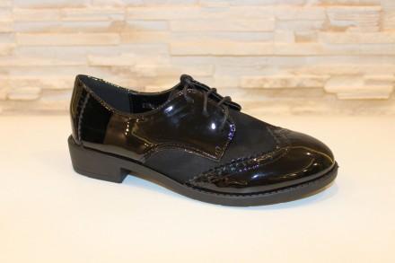 Туфли женские черные на шнуровке код Т161 40. Запорожье. фото 1