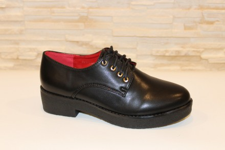 Туфли женские черные на шнурках Т630 36. Запорожье. фото 1