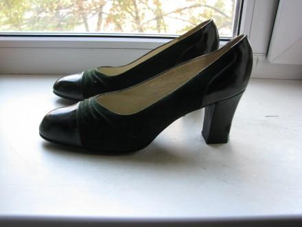 Туфли женские темно-зеленые новые, натур.замш, р.36-37. Киев. фото 1
