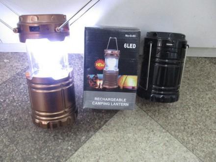 Кемпинговый фонарь на солнечной батарее G85 6Led зарядкой USB. Харьков. фото 1