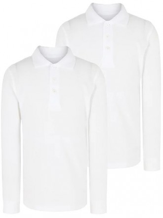 Белая футболка - поло школьная длинный рукав George. Код 190304. Київ. фото 1