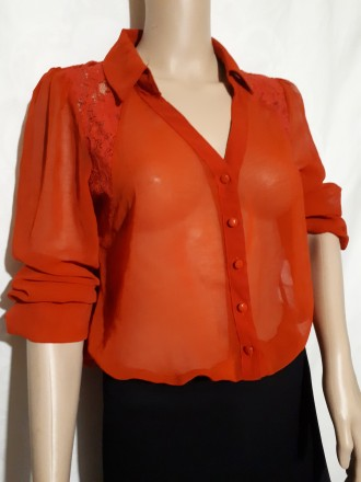 Красная женская рубашка полупрозрачная блуза шикарная кружевная спина forever 21. Днепр. фото 1