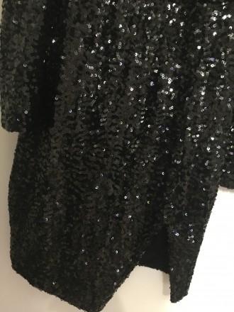 Плаття в паєтках, чорне, коротке, з розпоркою і глибоким вирізом.. Тернополь, Тернопольская область. фото 3