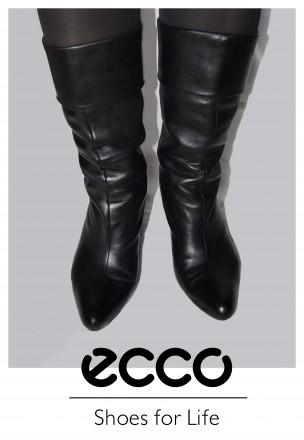 Ecco черные кожаные демисезонные сапоги 38 размер. Бровары. фото 1