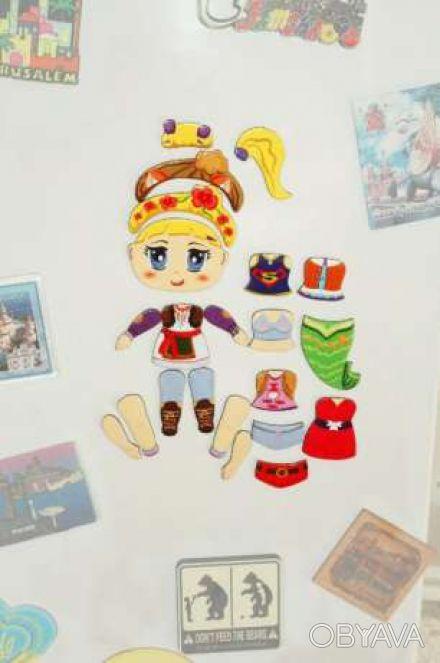 Магнитная кукла-конструктор на холодильник или магнитную доску. Набор из 22 дета. Киев, Киевская область. фото 1