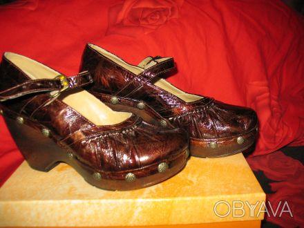 Стильные женские туфли, кожа, фирмы MAGRIT-производство Италия. Цвет коричневый. Киев, Киевская область. фото 1