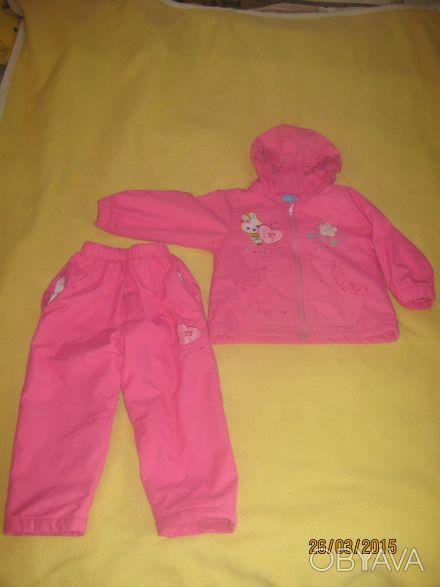 Розовый демисезонный костюм на девочку. Подкладка - флис, внутри - тонкий синтеп. Ніжин, Чернігівська область. фото 1