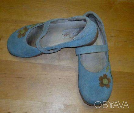туфли голубые, замшевые, испанские на каучуковой подошве для девочки  размер 33-. Киев, Киевская область. фото 1