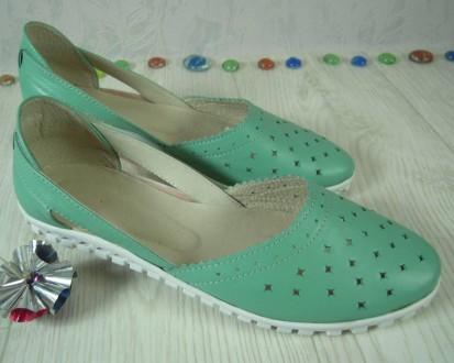 Летние туфли из натуральной кожи зеленого цвета. Днепр. фото 1