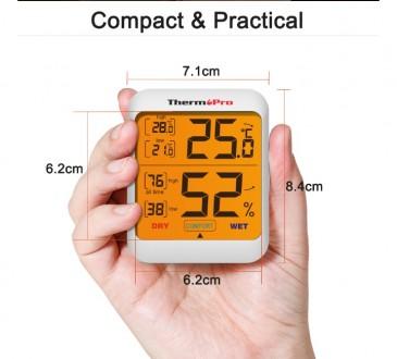 Гигрометр термометр с подсветкой. TermоPro Отличное качество. Желтая подсветка. Чернигов, Черниговская область. фото 3