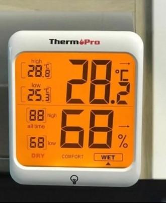Гигрометр термометр с подсветкой. TermоPro Отличное качество. Желтая подсветка. Чернигов, Черниговская область. фото 2