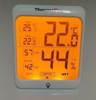Гигрометр термометр с подсветкой. TermоPro Отличное качество. Желтая подсветка. Чернигов, Черниговская область. фото 12