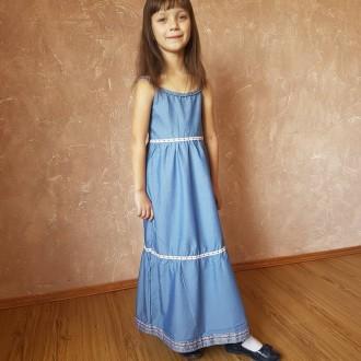 Плаття на дівчинку Максі дрес голубий під джинс. Нововолынск. фото 1