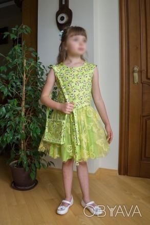 Нове святкове плаття для дівчинки на 7-8 років із німецтких тканин.. Львов, Львовская область. фото 1
