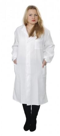 Халат белый, женский из габардина. Владимир-Волынский. фото 1