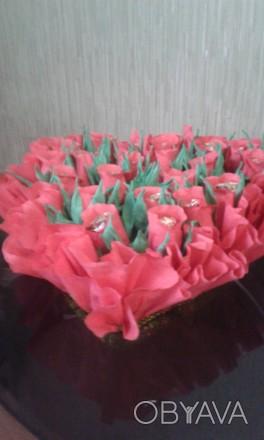 Сделаю под заказ букеты любых форм и размеров,в корзинках и сумочках.. Гадяч, Полтавская область. фото 1