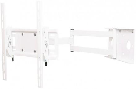 Кронштейн Квадо К-55 белый. Наклонно-поворотное (2 колена) настенное крепление д. Киев. фото 1