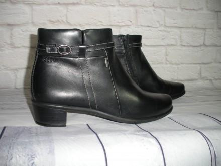 Кожаные утеплённые ботиночки Ecco gore-tex (оригинал), размер 40 (26,5 см). Черноморск (Ильичевск). фото 1