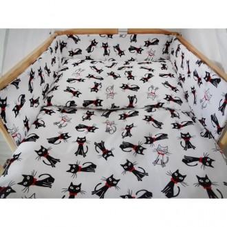 Комплект в кроватку Хатка 6 в 1 Коты бело-черный. Киев. фото 1