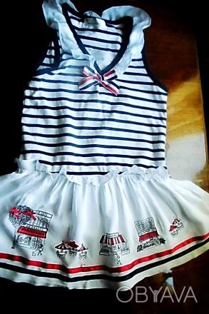 Платье – матроска нарядное на 5-6 лет , 100% хлопок, штапель, со змейкой сбоку, . Киев, Киевская область. фото 1