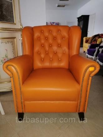 Мягкое кожаное кресло для отдыха. Кресло б\у из Европы. Днепр. фото 1
