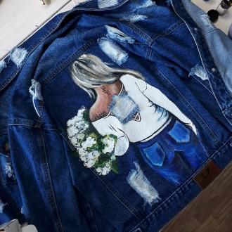 джинсовая куртка с художественной росписью. Фастов. фото 1