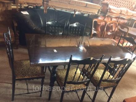 Комплект в столовую. Итальянскии обеденный стол (нераздвижной) и 6 стульев. До р. Днепр. фото 1