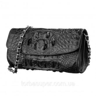 Сумка клатч CROCODILE LEATHER 18243 из натуральной кожи крокодила Коричневая, Ко. Днепр. фото 1
