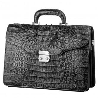 Портфель CROCODILE LEATHER 18048 из натуральной кожи крокодила Черный, Черный. Днепр. фото 1