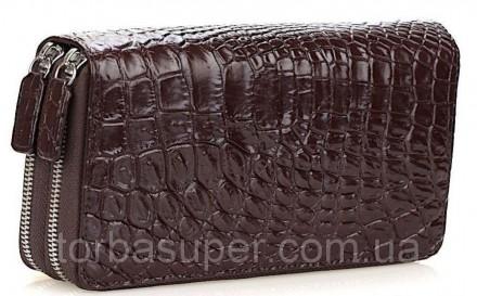 Кошелек-клатч CROCODILE LEATHER 18260 из натуральной кожи крокодила Коричневый, . Днепр. фото 1