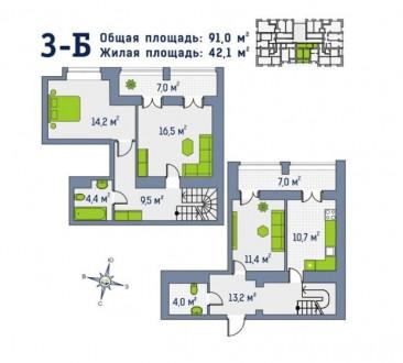 Дворівнева трикімнатна квартира в ЖК Центральний, вул. Д.Попова 26в, центр міста. Ирпень, Киевская область. фото 6